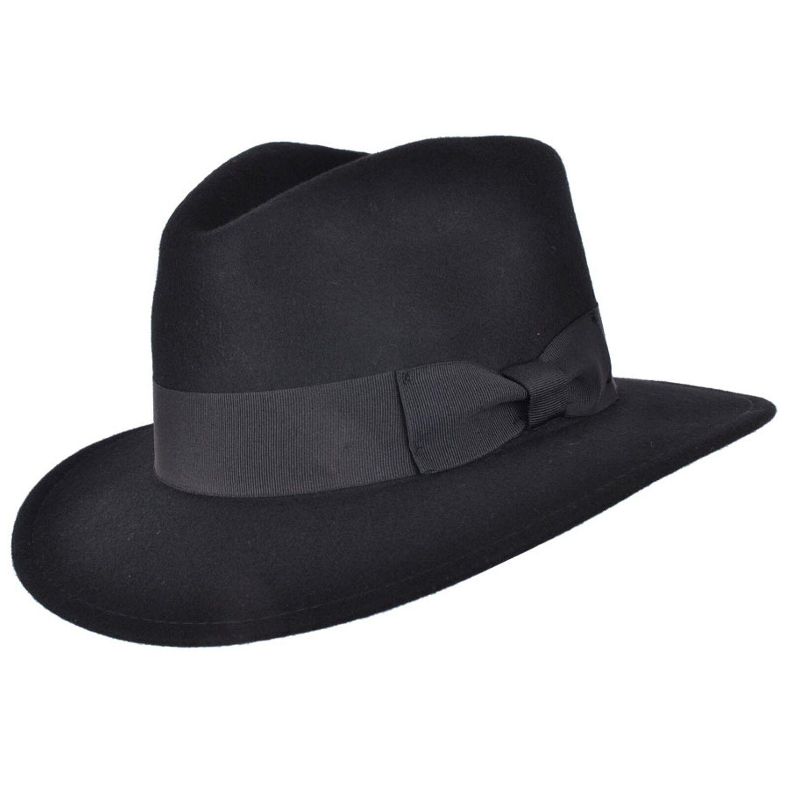 Indiana de caballeros 100% lana negro fieltro sombrero Fedora con banda  ancha 068cb674e25