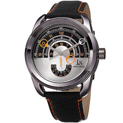 Men's Joshua & Sons JX129OR Quartz Movement Arc-Themed Dial Leather Strap Watch