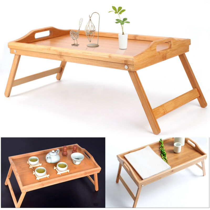 WELLGRO Bambus Bett Tablett klappbar Serviertablett Holz Tisch Frühstückstablett