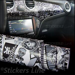 Pellicola adesiva sticker bomb bianco e nero m5 car - Pellicola adesiva a specchio ...