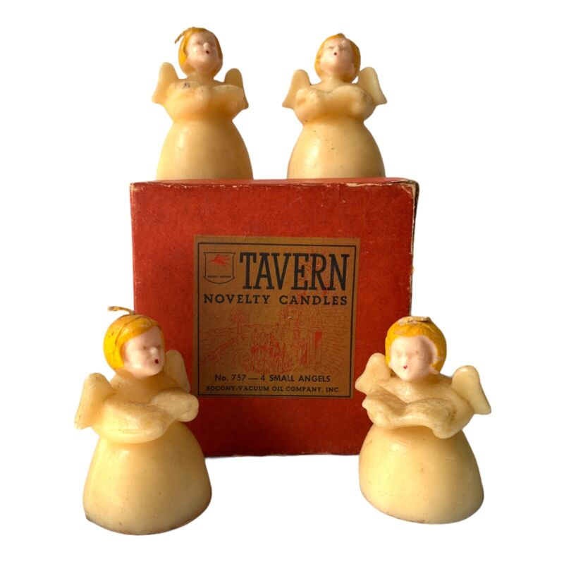 Vintage Tavern Candles SM Angels Set Of 4 In Box #757 Christmas Novelty