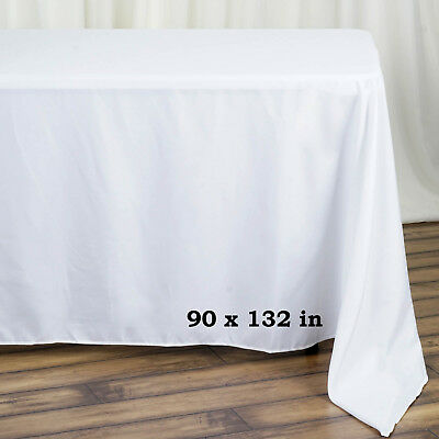 white polyester 90x132 rectangle tablecloths wedding party