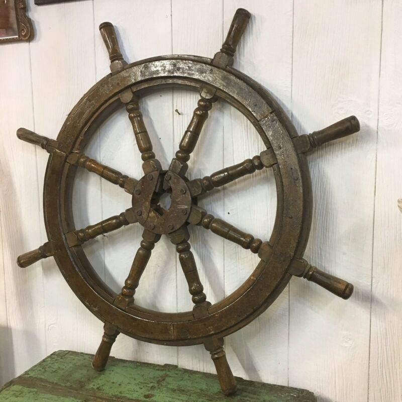 "ANTIQUE WOODEN SHIPS WHEEL ""LARGE VESSEL"" 8 SPOKE"