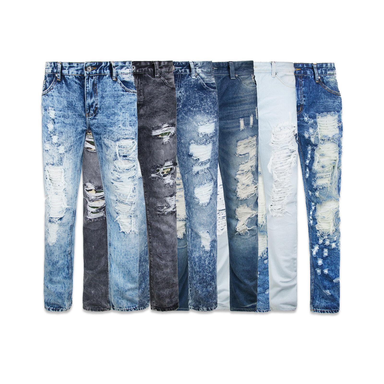 New Mens LCJ Denim Biker Ripped Sand Super Skinny Fit Jeans Look