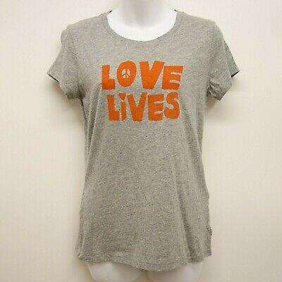 Levi's GRÖSSE S Damen Grau Heather Hippie Love Leben Festival Crew Neck Tee - Baumwolle Love Crewneck T-shirt