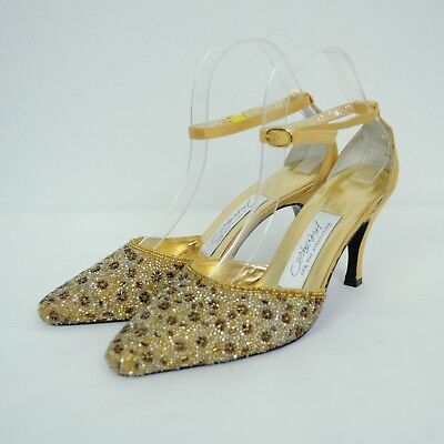 - Lord & Taylor Womens Cheer Beaded Slingback Pointed Heels Sz 8 Gold