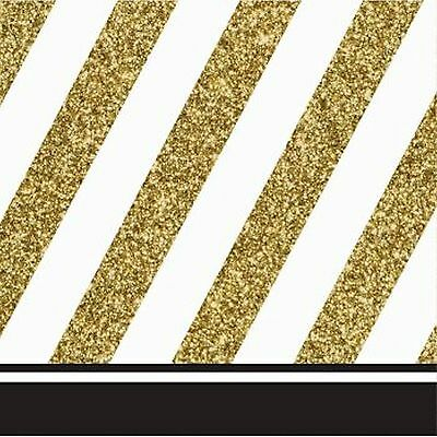 Black and Gold Beverage Napkins-Set of 16-NEW - Black And Gold Napkins