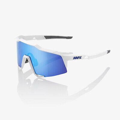 Radbrille 100% Speedcraft SL ;atte White/Metallic Blue HiPER Blue Mirror Lens