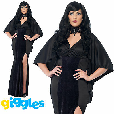 Plus Size Gothic Vampire Costume Vamp Womens Ladies Halloween Fancy Dress Outfit