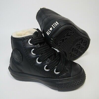 Baby Converse All Star Boot Mid Black Leather High Top Trainers Boots...