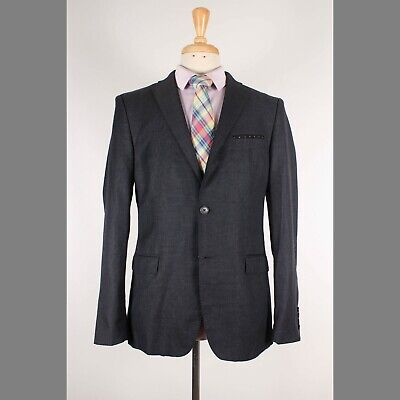 Zara 42R Gray Solid Wool Two Button Sport Coat