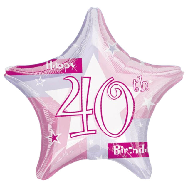 "19"" Pink 40th Birthday Prismatic Foil Balloon party"