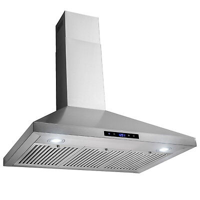 """36"""" Wall Mount Stainless Steel Touch Panel Kitchen Range Hood Cooking Fan"""