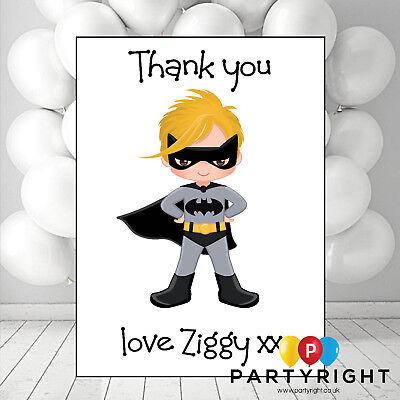 Personalised Superhero Kids Blond Batman Thank you cards](Superhero Thank You Cards)