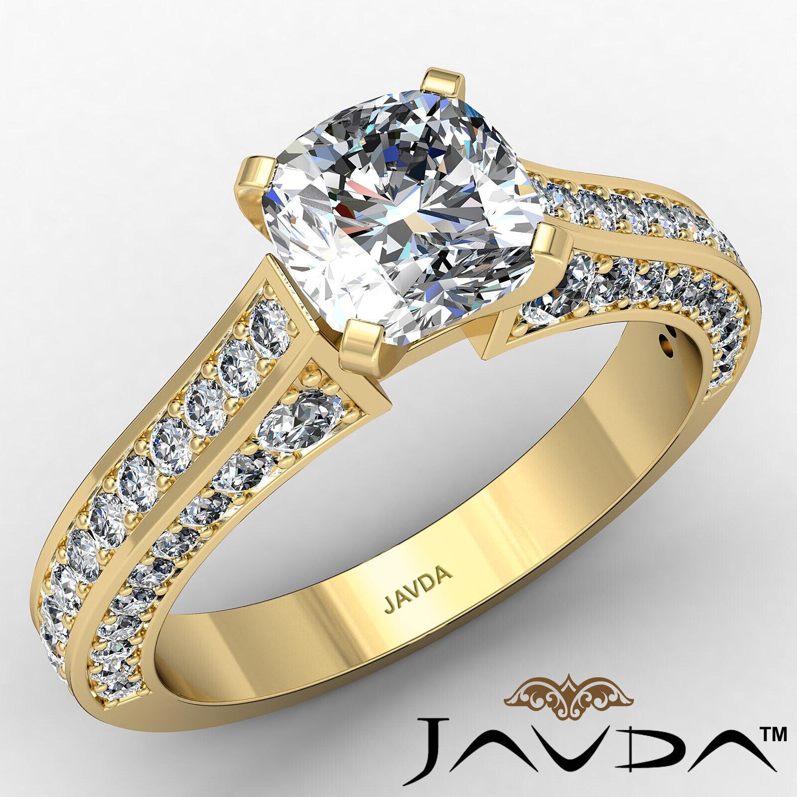 Cushion Diamond Engagement Pave Set Ring GIA J Color & VS2 clarity 1.82ctw 1