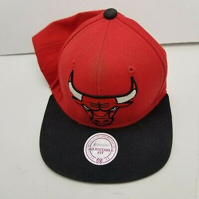 Chicago Bulls Mitchell & Ness NBA Hat Cap Red Adult Used Snapback Vtg R5