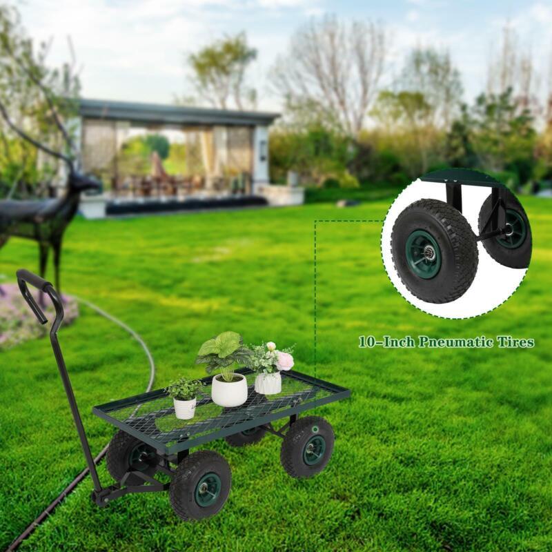 Outdoor Garden Cart Utility Pull Wagon Removable Steel Side Lawn Yard Heavy Duty