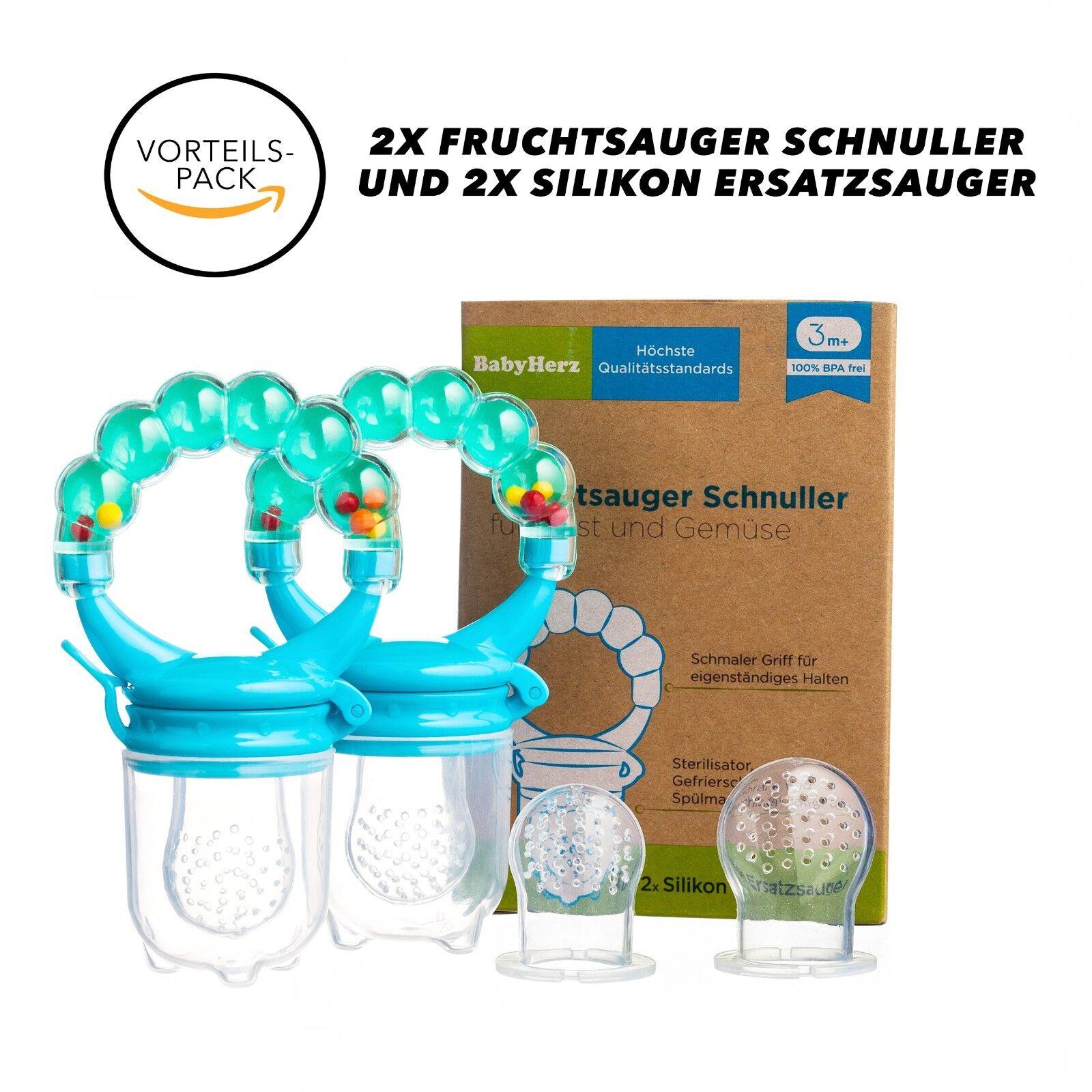 Fruchtsauger Schnuller für Obst - 100% BPA-frei Silikon - Baby VORTEILSPAKET