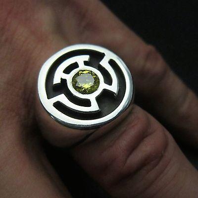 MJG STERLING SILVER YELLOW LANTERN RING. SINESTRO. 6mm CZ. SZ 10. COMIC CON