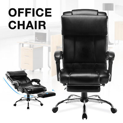 Executive Reclining Office Chair High Back Leather Ergonomic Armchair Wfootrest