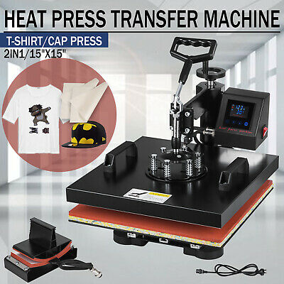 2in1 Combo T-shirt Heat Press Transfer 15x15 Printing Machine Swing Away