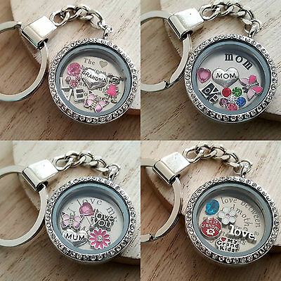 Personalised floating locket Keyring for mum nan -Birthday Mothers day Xmas gift