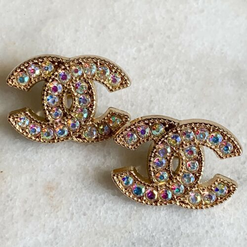 Chanel Aurora Borealis Crystal Buttons Stamped Auth 22 mm - Lot of 2