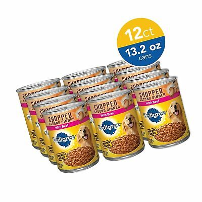 Pedigree Chopped Ground Dinner Wet Dog Food, Real Beef 13.2 oz. Cans Pack of 12