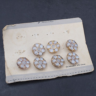 7 vintage moonglow glass buttons with gold luster Germany US-zone original card