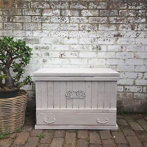 Shabby chic rustic white timber blanket box Leichhardt Leichhardt Area Preview