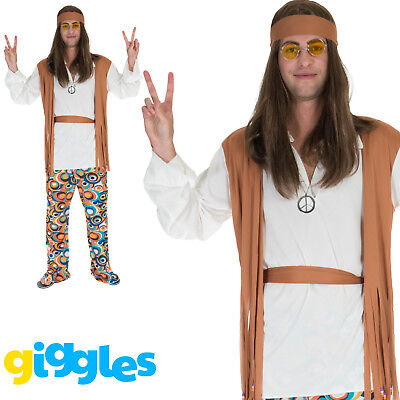 Mens Hippy Costume 60s 70s Psychedelic Hippie Man Peace Fancy Dress Party Outfit](60s Outfit Men)