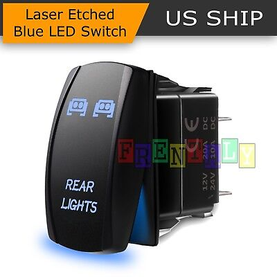 (Blue Laser Rocker Switch Rear LED Light Bar On-Off 5 Pins 12V 20A Car Truck Boat)