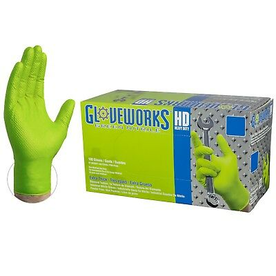 GLOVEWORKS Green Nitrile Industrial Latex Free Disposable Gloves (Box of - Green Gloves