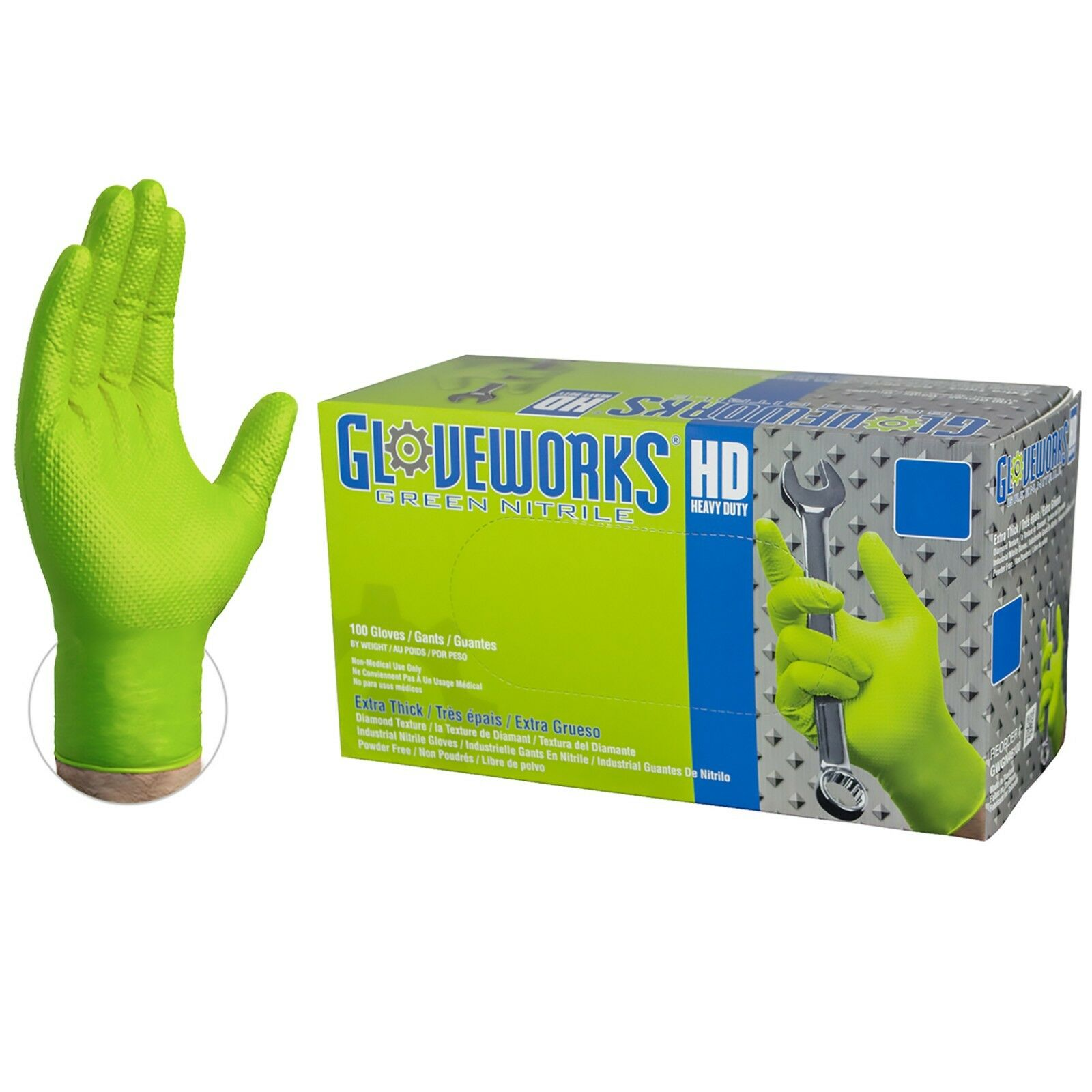 GLOVEWORKS Green Nitrile Heavy Duty Latex Free Disposable Gloves Mechanic Strong