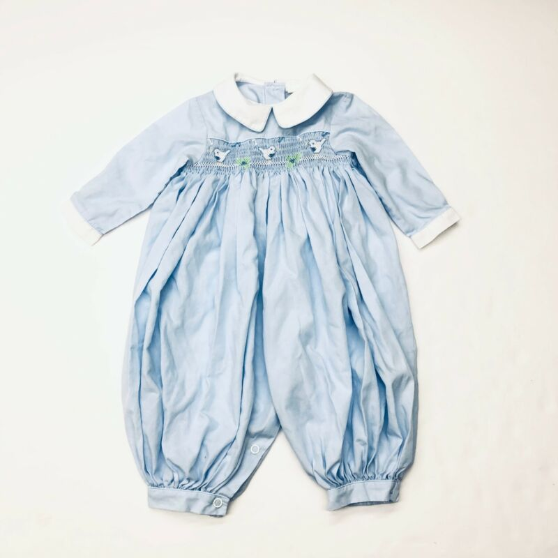 Vintage Rosey Kids Baby Blue Bird Smocked Bubble Romper Longall Sz 9 Months