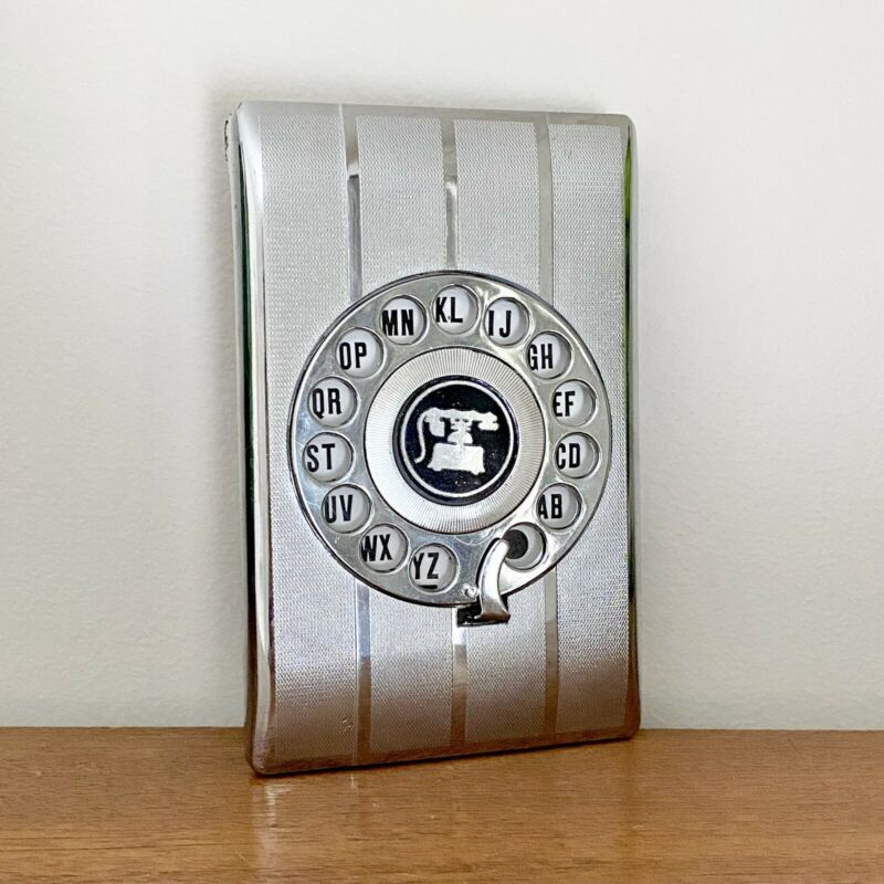 FAB Vintage MID CENTURY Chrome SILVER Rotary DIAL Index TELEPHONE Address BOOK