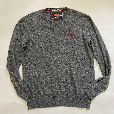 Superdry Vintage Orange label Mens size L Gray V neck cashmere blend L/S sweater