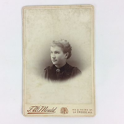Victorian Portrait Young Lady Cabinet Photo Black White Wavy Hair Brooch 1800s