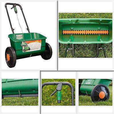 Lawn Spreader Fertilizer Seed Drop Grass Pro Push Large Yard Walk Behind