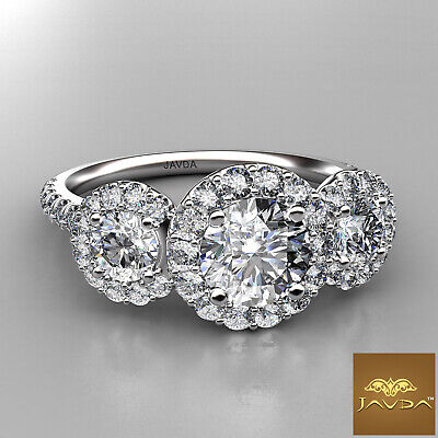 Halo 3 Stone Micro Pave Round Diamond  Engagement Ring GIA D VS2 Clarity 1.50Ct 1