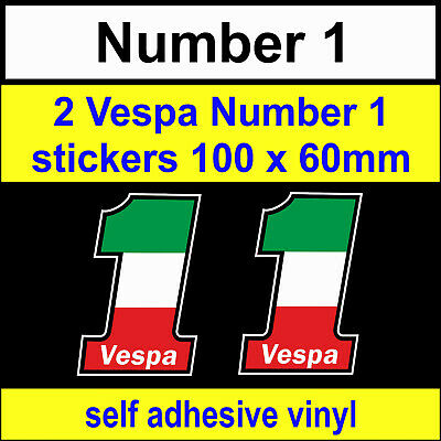 2 Vespa No1 Scooter Italian flag Stickers bike car Motorcycle toolbox decals