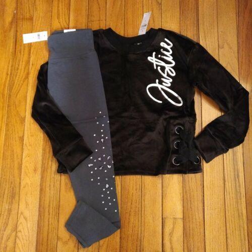 NWT Girls Justice Outfit Velour Logo Sweatshirt/Leggings Size 8 10 12