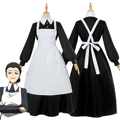 The Promised Neverland Isabella Maid Dress White Apron Fancy Dress Cos Costume (Isabella Costume)