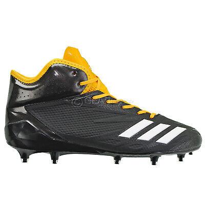 ADIDAS ADIZERO 5-STAR 6.0 MID Mens Football Cleats - Black / Yellow - Size 13