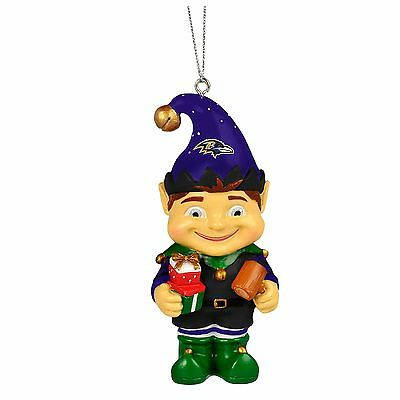 Baltimore Ravens Elf Christmas Tree Holiday Resin Ornament NEW - -