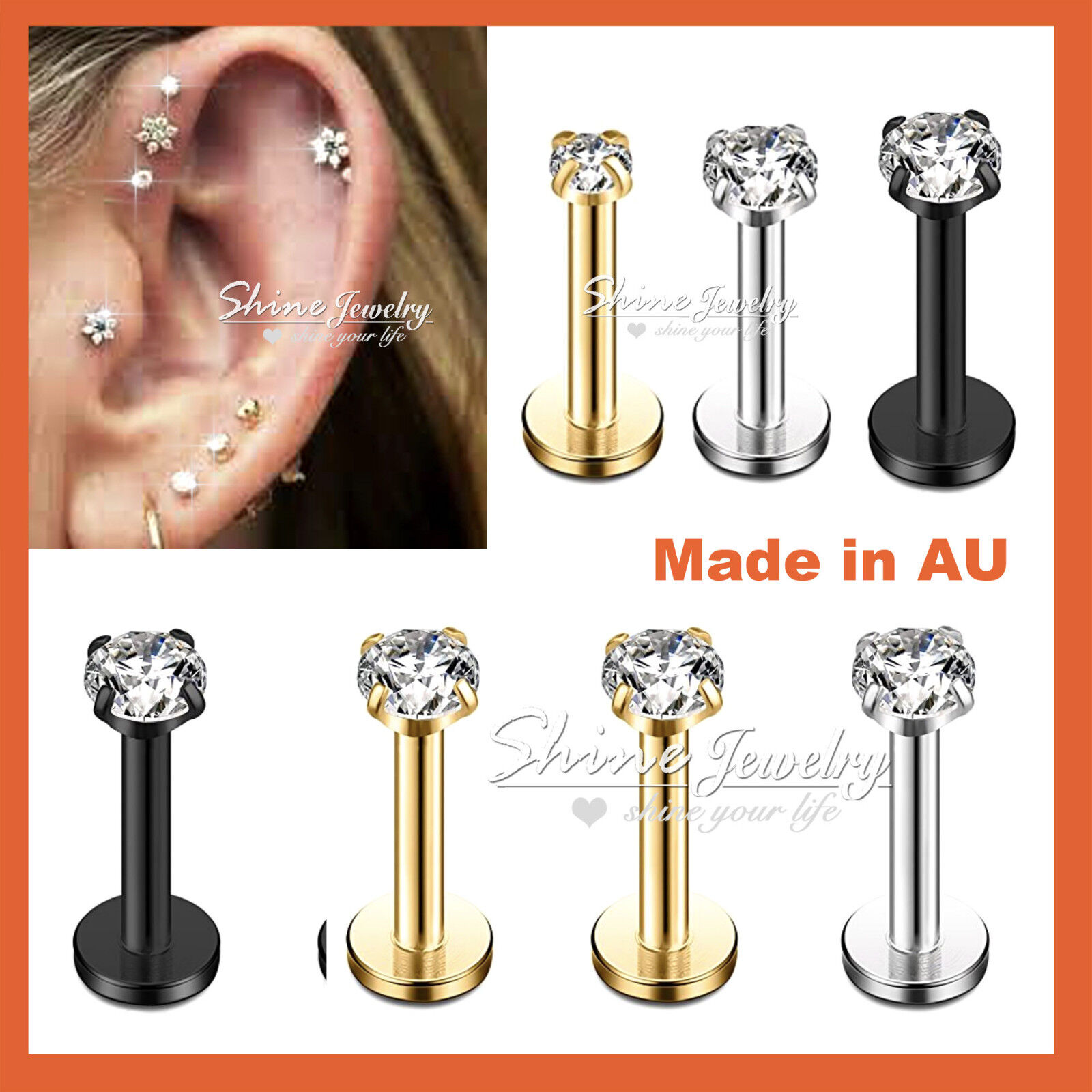 Jewellery - Titanium Ear Helix Tragus Cartilage Earring Lip Crystal Bar Stud Body Piercing