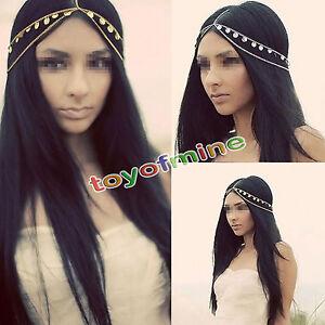 Women Metal Rhinestone Chain Jewelry Headband Head Piece Hair band Gold