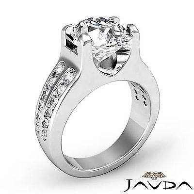 2 Row Channel Prong Setting Oval Diamond Engagement Ring GIA I Color SI1 1.62Ct 1