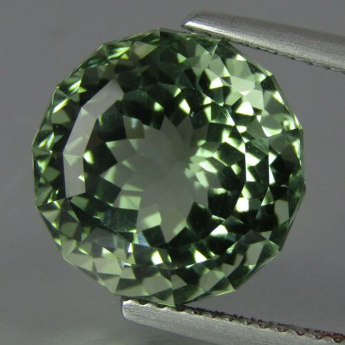 8.02Ct Deluxe Natural Green Amethyst (prasiolite) Round 12.5mm Custom Cut VDO