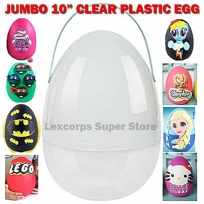 "Giant Large Jumbo 10"" Plastic SURPRISE Egg YOUTUBE Playdoh Clear Fun with Handle"